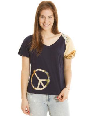 T-Shirt Patch'Mode bleu Peace&Love
