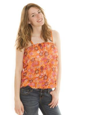 Caraco à fleurs orange