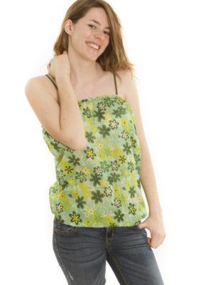Caraco à fleurs vert