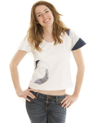 T-Shirt Patch'Mode blanc à spirale