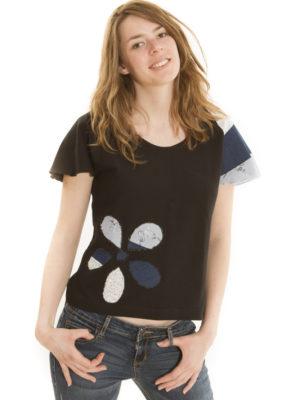 T-Shirt Patch'Mode noir à fleur