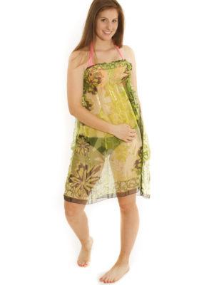 Robe/jupe à smocks verte