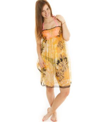 Robe/jupe à smocks jaune