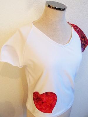 Patch'Coeur blanc avec coeur rose
