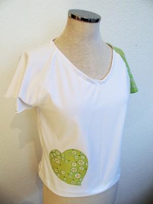 Patch'Coeur blanc avec coeur vert clair