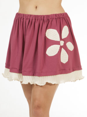 Jupe Patch'Mode rose avec fleur blanche