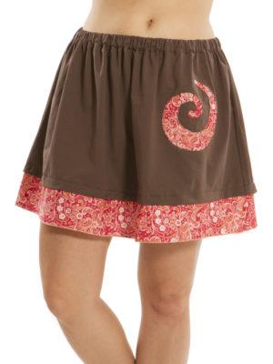 Jupe Patch'Mode brune avec spiral rouge