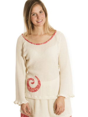 Pull Patch'Mode en tricot avec spiral rouge